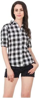 Kicky Women Checkered Formal White, Black Shirt Kicky Women's Shirts