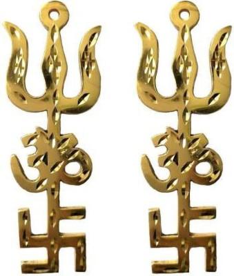 Ozimo Tri Shakti Brass Yantra Trishul, Om And Swastik Decorative Showpiece  -  9.5 cm(Brass, Gold)
