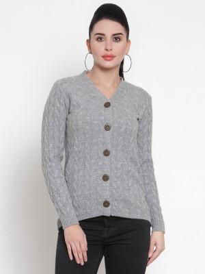 Kalt Self Design V Neck Casual Women Grey Sweater