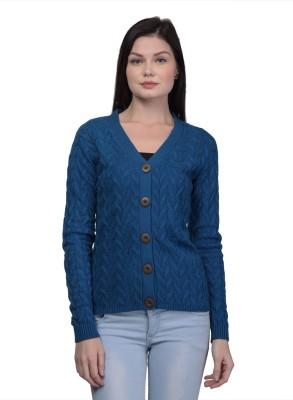 Kalt Self Design V Neck Casual Women Blue Sweater