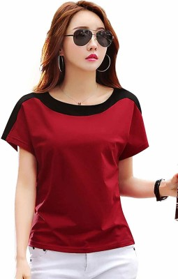 BASE 41 Solid Women Round Neck Red T-Shirt