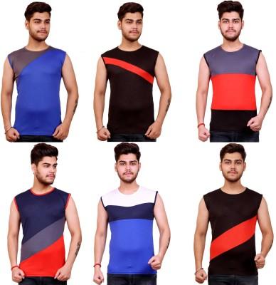 Celebrino Color Block Men Round Neck Multicolor T-Shirt(Pack of 6)