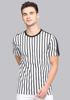 JUST DRESS BETTER Striped Men Round Neck White T-Shirt
