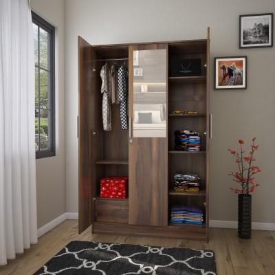 Flipkart Perfect Homes Julian Engineered Wood 3 Door Wardrobe(Finish Color - Latin Walnut, Mirror Included)