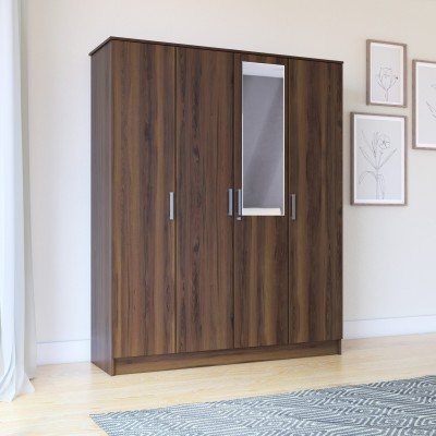Flipkart Perfect Homes Julian Engineered Wood 4 Door Wardrobe(Finish Color - Dark Walnut, Mirror Included)