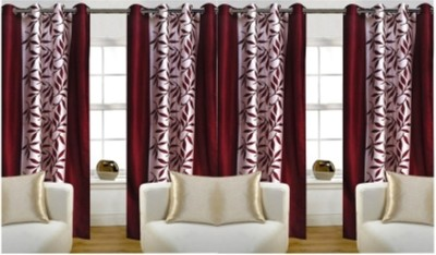 Adimanav 152.4 cm (5 ft) Polyester Window Curtain (Pack Of 4)(Floral, Red)