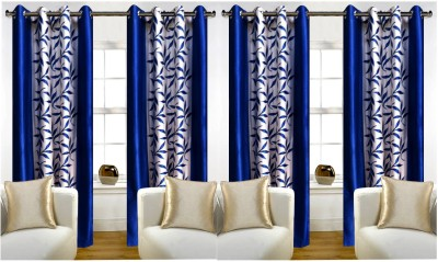 STAMEN 214 cm (7 ft) Polyester Door Curtain (Pack Of 4)(Floral, Blue)