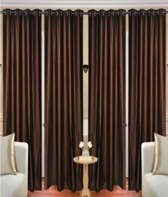 Guruh Homes 274.32 cm (9 ft) Polyester Long Door Curtain (Pack Of 4)(Solid, Brown)