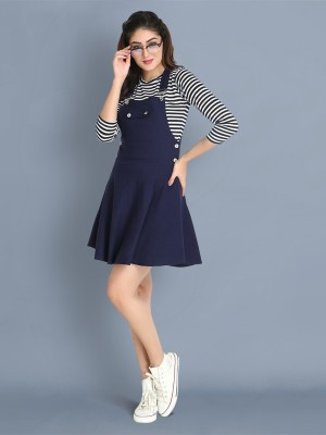BuyNewTrend Women Pinafore Dark Blue Dress