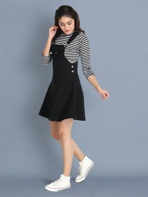 BuyNewTrend Women Pinafore Black Dress