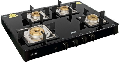 GLEN 4 Burner Glass Black Cooktop 1048 SQ BL Forged Brass Burners Auto Ignition Stainless Steel Automatic Gas Stove(4 Burners)