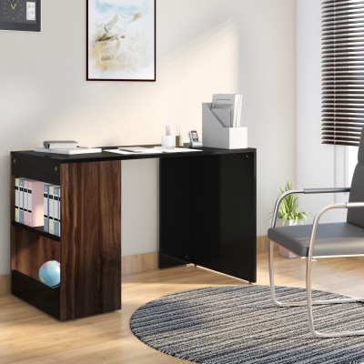 Flipkart Perfect Homes Studio Augustine Dual Tone Engineered Wood Study Table(Free Standing, Finish Color - Walnut and Black)