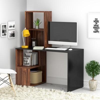 Flipkart Perfect Homes Studio Noel Dual Tone Engineered Wood Study Table(Free Standing, Finish Color - Walnut and Black)