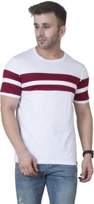 Veirdo Striped Men Round Neck Red, White T Shirt