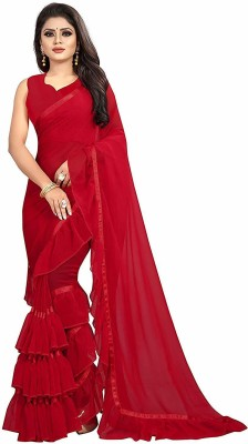 supalee tex Self Design Bollywood Georgette Chiffon Blend Saree(Red)