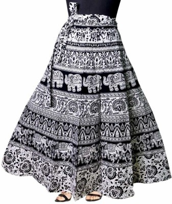 Frionkandy Printed Women Wrap Around Black Skirt