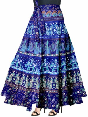 UrbanEra Printed Women Wrap Around Light Blue Skirt