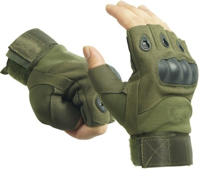 NIRVA Half Finger Tactical Hard Knuckle Ridding Gloves Riding Gloves(Green)