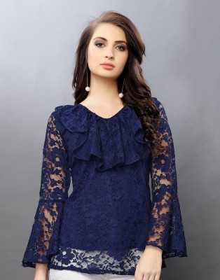 Selvia Casual Flared Sleeve, Bell Sleeve Lace Women Dark Blue Top