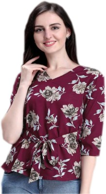AVRIZOCasual 3/4 Sleeve Floral Print Women Maroon Top