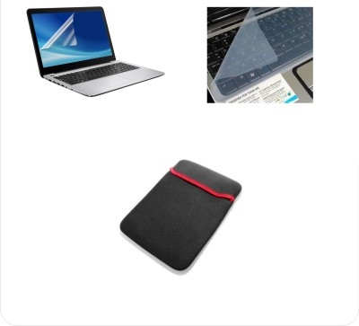 Namo Arts 3 in1 Combo   Screen Guard, KeyGuard and Sleeve for All 15.6 Inch Laptops || Notebooks Combo Set Transparent