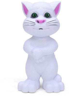 Kidz N Toys Interactive Talking Tom Cat Toy for Kids / Speaking Repeats What You Say - Birthday Gift for Boy and Girl(White)