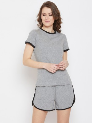 Gritstones Women Solid Grey, Black Top & Shorts Set