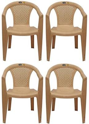 Restomatt Plastic Outdoor Chair(Beige, Set of 4)