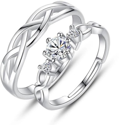 BlueShine Adjustable Couple Rings for lovers in Silver valentine gift & proposal ring Alloy Silver Plated Ring Set