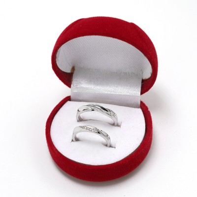 BlueShine Adjustable Couple Rings for lovers in Silver valentine gift & proposal ring Alloy Cubic Zirconia Ring Set