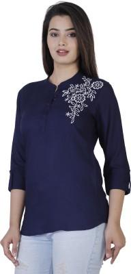 Silkova Casual Regular Sleeve Embroidered Women Dark Blue Top