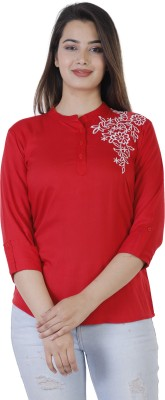 Silkova Casual Regular Sleeve Embroidered Women Red Top
