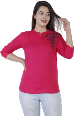 Silkova Casual Regular Sleeve Embroidered Women Yellow Top