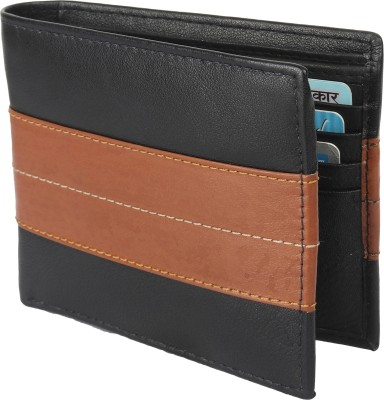 Southpole Fashions Men Black Genuine Leather Wallet 8 Card Slots