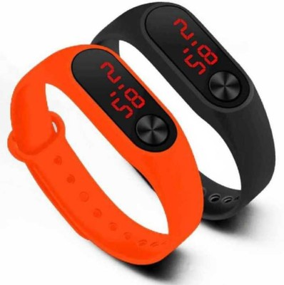 UNEQUETREND digital led combo pack combo led watch red & black (for men & women) Ultra Thin LED Watch Bracelet Silicone Waterproof Digital Fashion Gym Running Sports Wrist Watches Band Strap Adjustable -Red & Black Digital Watch - For Boys & Girls Digital Watch  - For Men & Women
