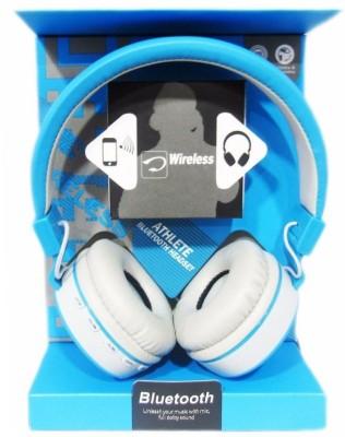 KLUZIE Stereo Sound Rich Bass Wireless Premium Headphone Bluetooth Headset(Blue, Wireless over the head)