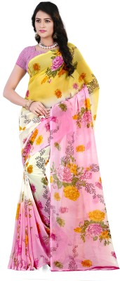 Anand Sarees Floral Print Daily Wear Georgette Saree(Pink, Yellow)