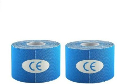 Web Mall Classic Kinesiology Tape (100% Water Resistance) (Pack Of 2) Knee, Calf & Thigh Support(Blue)