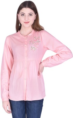 Created in India Casual Full Sleeve Embroidered Women Pink Top