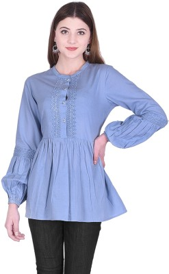 Created in India Casual Full Sleeve Solid Women Blue Top