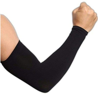 Shopex Sun UV Protection Arm Sleeves with Fully Stretchable Material Driving Gloves Nylon Arm Warmer(Black)