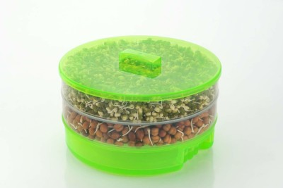 KMT Plastic Sprout Maker Box Hygienic Sprout Maker with 4 Container Organic Home Making Fresh Sprouts Beans for Living Healthy Life  - 1000 ml Plastic Sprout Maker(Green)
