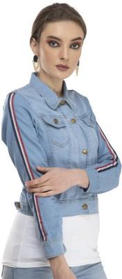TIJARAH Full Sleeve Striped Women Denim Jacket TIJARAH Women's Jackets