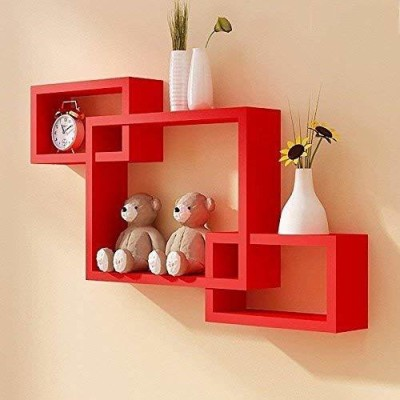 Online Craftbuzz MDF Wood Set of 3 Intersecting Wall Shelves Home Decorative...