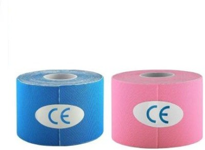 Web Mall PLUS Kinesiology Tape (100% Water Resistance) (Pack Of 2) Knee, Calf & Thigh Support(Blue, Pink)