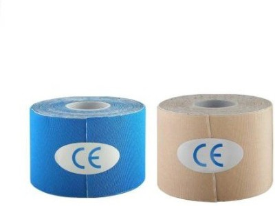 Web Mall Supreme Kinesiology Tape (100% Water Resistance) (Pack Of 2) Knee, Calf & Thigh Support(Beige, Blue)