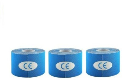 Web Mall Kinesiology Tape (100% Water Resistance) (Pack Of 3) Knee, Calf & Thigh Support(Blue)