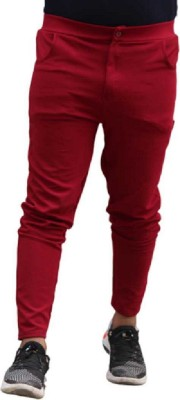 inwixa Solid Men Red Track Pants