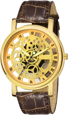 VRAKISH New Arrival Open Dial Mechanical Brown Belt Analog Watch   For Men VRAKISH Wrist Watches