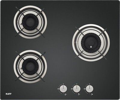Kaff CRH 603 Built in Hob|Tornado Fire Burners|Auto Electric Ignition|Black Tempered Glass Glass Manual Hob(3 Burners)